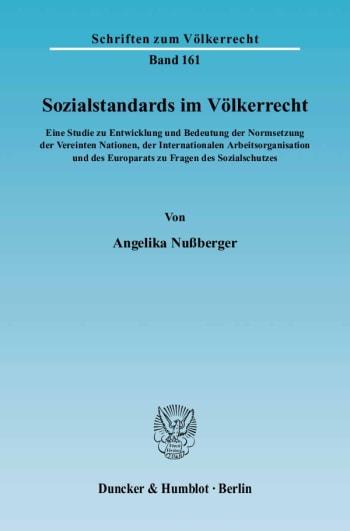 Cover: Sozialstandards im Völkerrecht