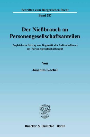 Cover: Der Nießbrauch an Personengesellschaftsanteilen