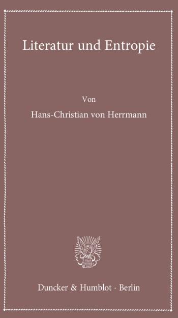 Cover: Literatur und Entropie