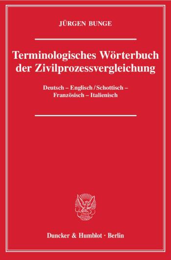 Cover: Terminologisches Wörterbuch der Zivilprozessvergleichung