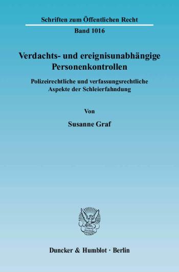 Cover: Verdachts- und ereignisunabhängige Personenkontrollen