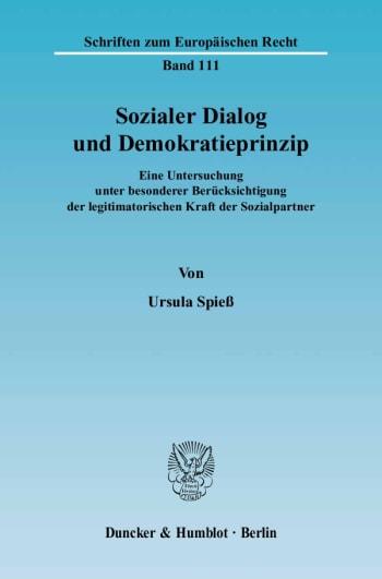 Cover: Sozialer Dialog und Demokratieprinzip