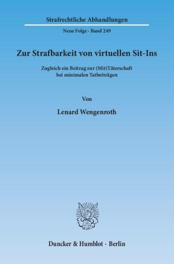 Cover: Zur Strafbarkeit von virtuellen Sit-Ins