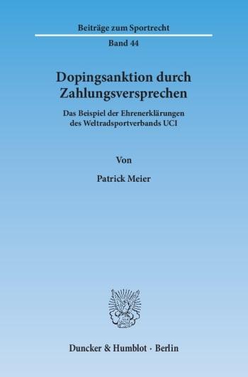 Cover: Dopingsanktion durch Zahlungsversprechen