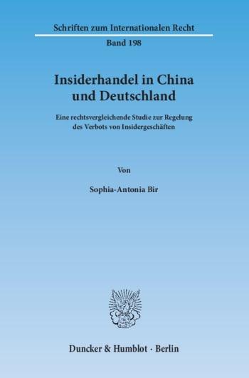 Cover: Insiderhandel in China und Deutschland