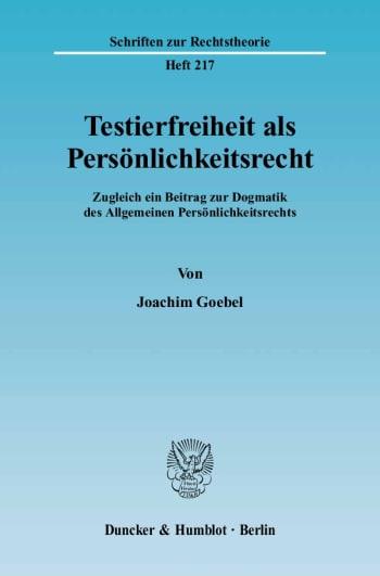 Cover: Testierfreiheit als Persönlichkeitsrecht