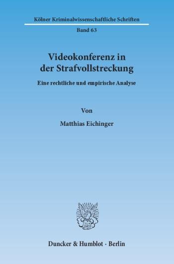 Cover: Videokonferenz in der Strafvollstreckung