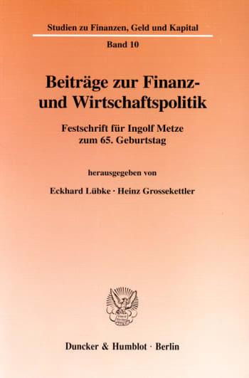 Cover: Beiträge zur Finanz- und Wirtschaftspolitik