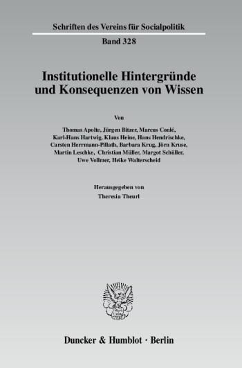 Cover: Institutionelle Hintergründe und Konsequenzen von Wissen