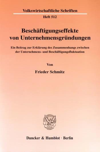Cover: Beschäftigungseffekte von Unternehmensgründungen
