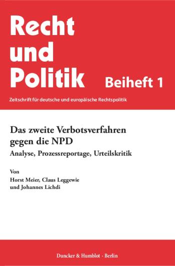 Cover: Das zweite Verbotsverfahren gegen die NPD