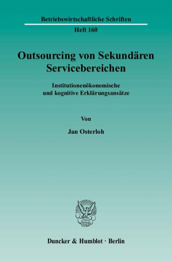 Cover: Outsourcing von Sekundären Servicebereichen