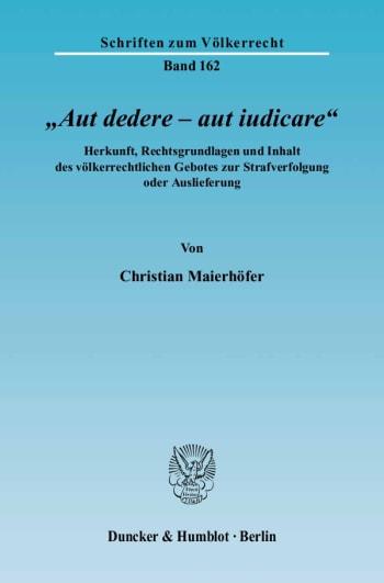 Cover: »Aut dedere – aut iudicare«