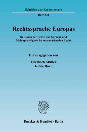 Cover: Rechtssprache Europas