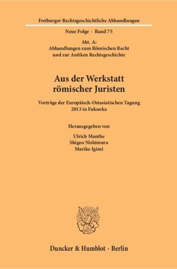 Cover: Aus der Werkstatt römischer Juristen