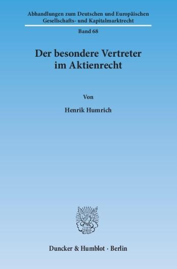 Cover: Der besondere Vertreter im Aktienrecht