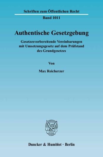 Cover: Authentische Gesetzgebung