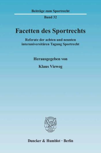 Cover: Facetten des Sportrechts