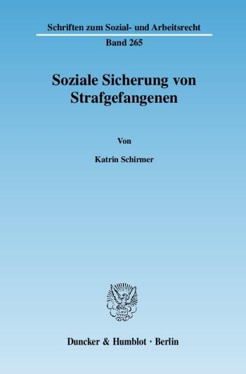 Cover: Soziale Sicherung von Strafgefangenen