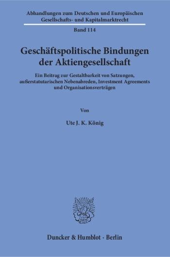 Cover: Geschäftspolitische Bindungen der Aktiengesellschaft