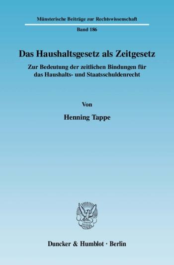 Cover: Das Haushaltsgesetz als Zeitgesetz