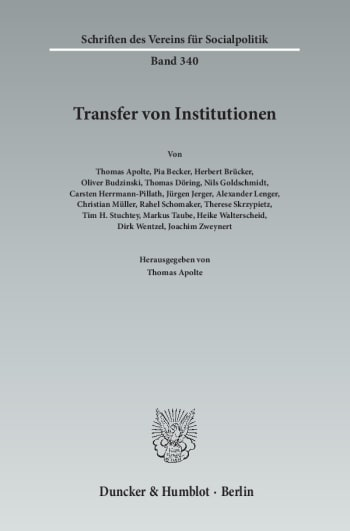 Cover: Transfer von Institutionen