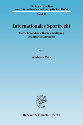 Cover: Internationales Sportrecht
