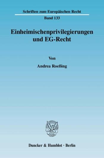 Cover: Einheimischenprivilegierungen und EG-Recht
