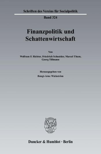 Cover: Finanzpolitik und Schattenwirtschaft