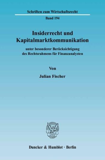 Cover: Insiderrecht und Kapitalmarktkommunikation