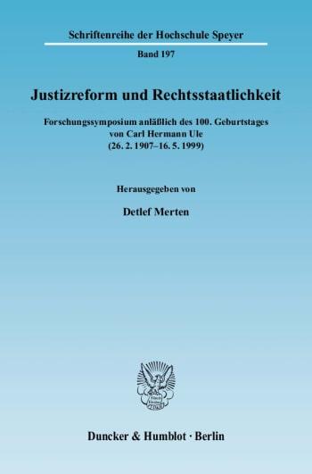 Cover: Justizreform und Rechtsstaatlichkeit