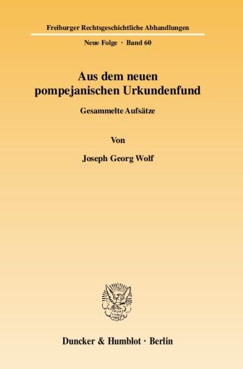 Cover: Aus dem neuen pompejanischen Urkundenfund