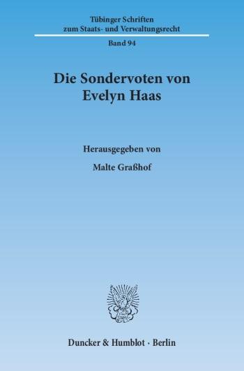 Cover: Die Sondervoten von Evelyn Haas