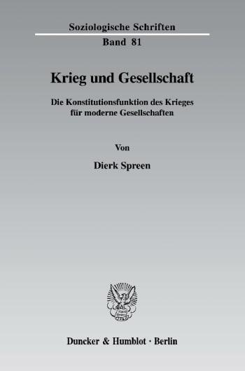 Cover: Krieg und Gesellschaft