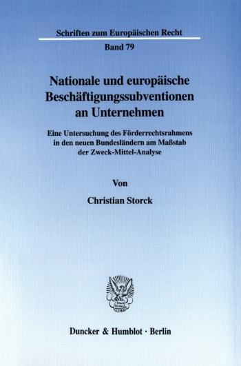 Cover: Nationale und europäische Beschäftigungssubventionen an Unternehmen