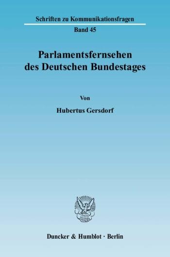 Cover: Parlamentsfernsehen des Deutschen Bundestages