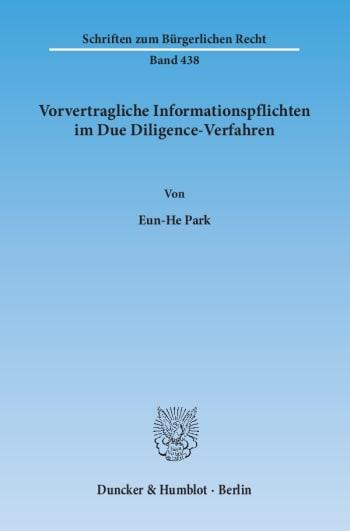 Cover: Vorvertragliche Informationspflichten im Due Diligence-Verfahren
