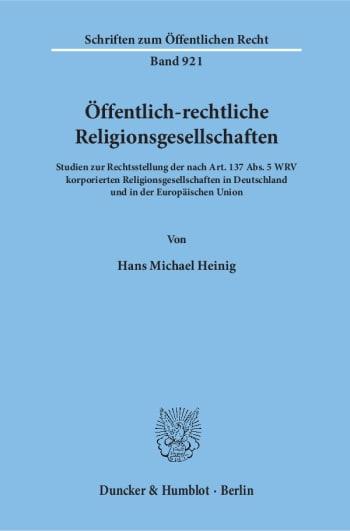 Cover: Öffentlich-rechtliche Religionsgesellschaften