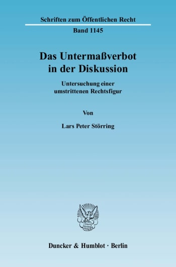 Cover: Das Untermaßverbot in der Diskussion