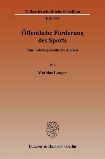 Cover: Öffentliche Förderung des Sports