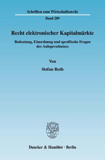 Cover: Recht elektronischer Kapitalmärkte