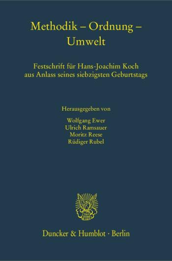 Cover: Methodik – Ordnung – Umwelt