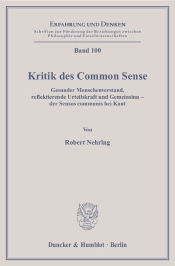 Cover: Kritik des Common Sense