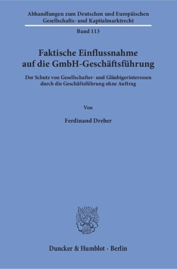Cover: Faktische Einflussnahme auf die GmbH-Geschäftsführung