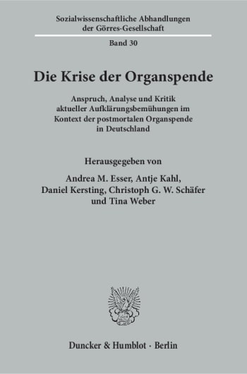Cover: Die Krise der Organspende