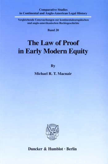 Cover: The Law of Proof in Early Modern Equity