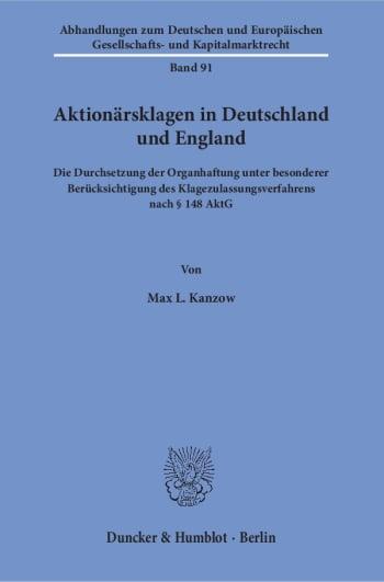 Cover: Aktionärsklagen in Deutschland und England