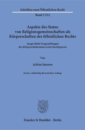 Cover: Aspekte des Status von Religionsgemeinschaften als Körperschaften des öffentlichen Rechts