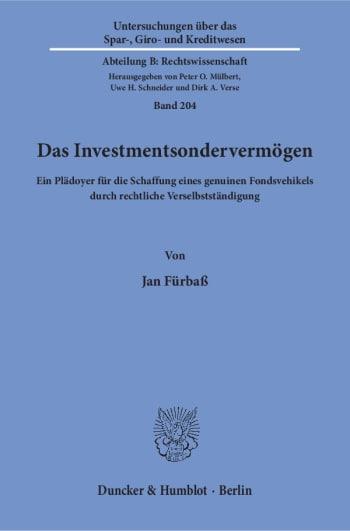 Cover: Das Investmentsondervermögen