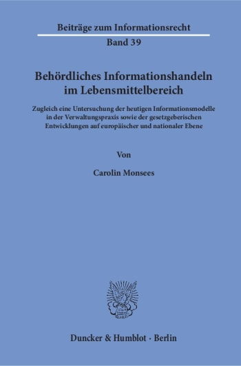 Cover: Behördliches Informationshandeln im Lebensmittelbereich